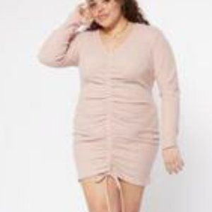 New! PLUS SZ Pink Ruched Long Sleeve V-Neck Dress